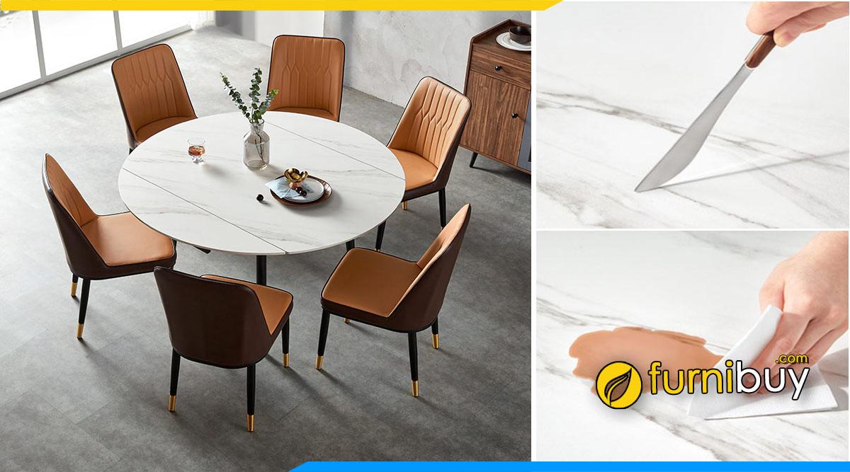 Hình ảnh mẫu bàn ăn mặt đá 6 ghế hình tròn gấp gọn hiện đại