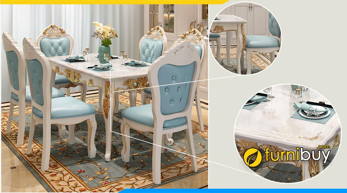 Mẫu bàn ghế ăn mặt đá hoa cương bóng mịn dễ vệ sinh