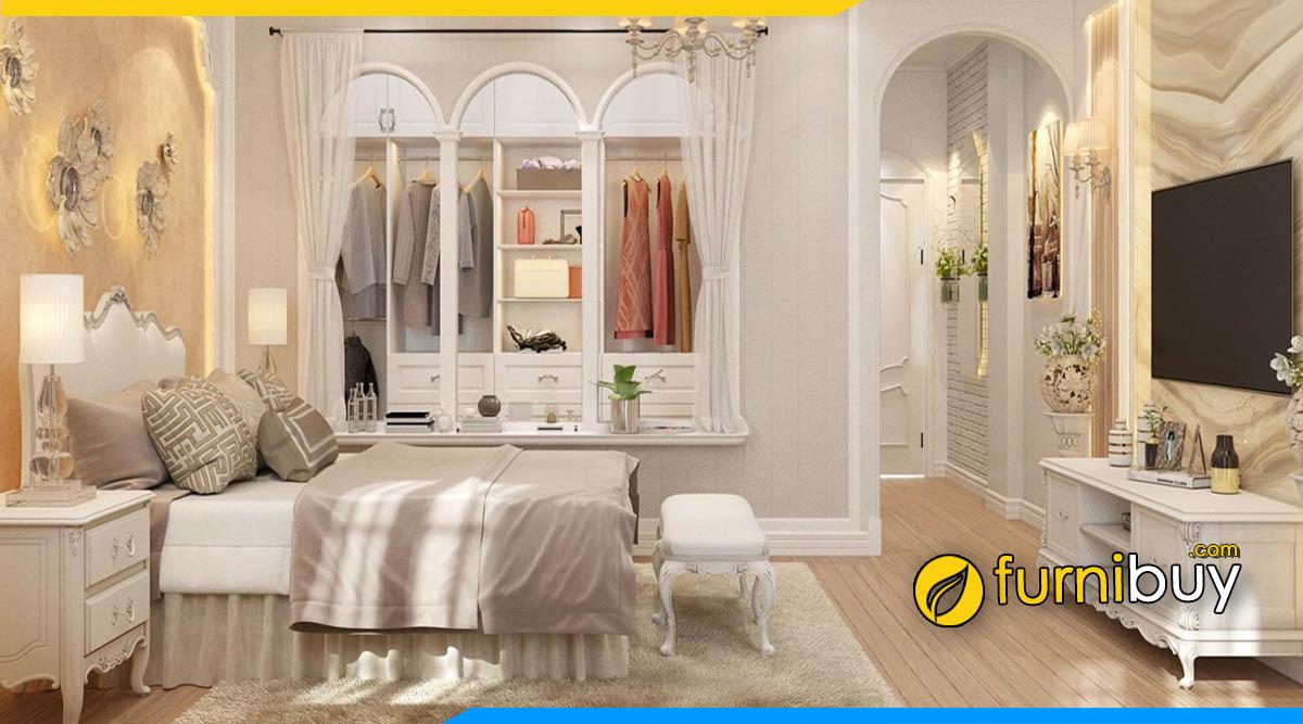Mẫu kệ tivi phòng ngủ màu trắng được ưa chuộng