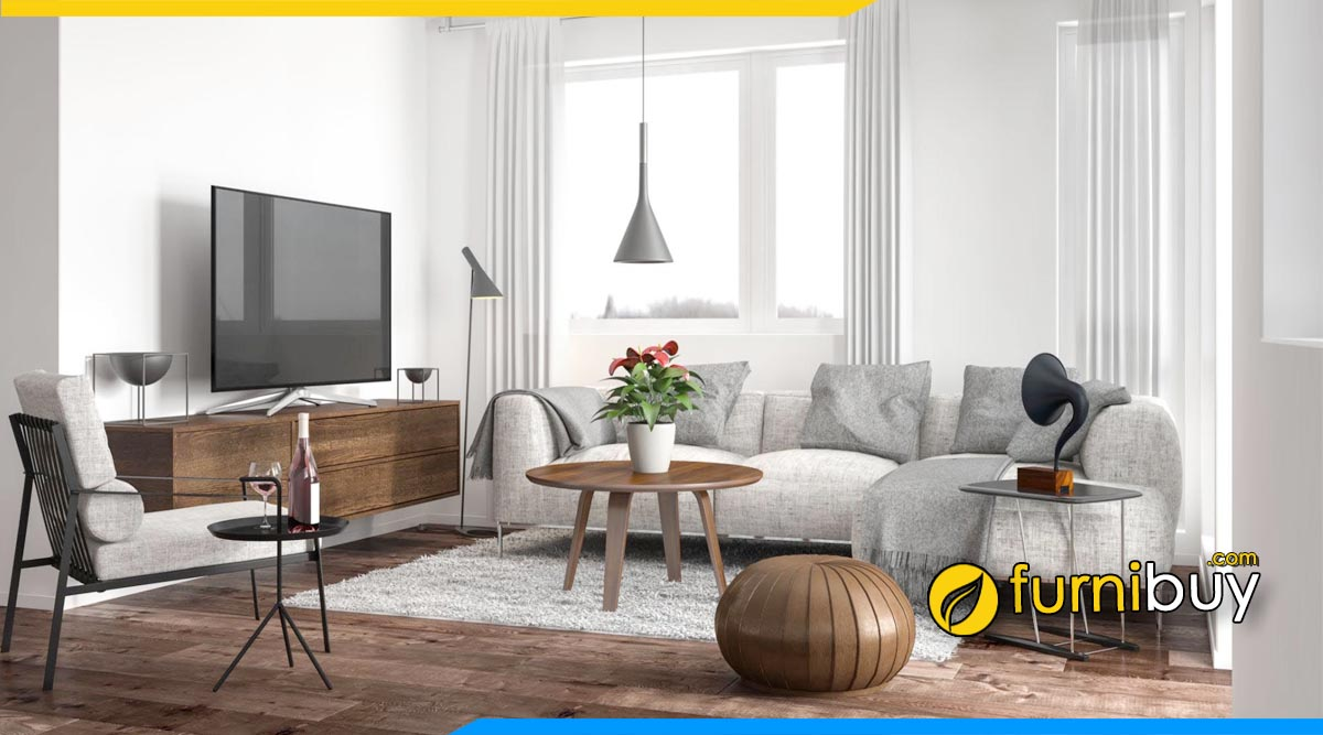Mẫu nội thất phòng khách đẹp giữa kệ tivi kết hợp bàn trà đẹp