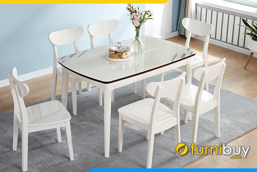 Mua bàn ăn 6 ghế cho nhà chung cư đẹp mặt kính