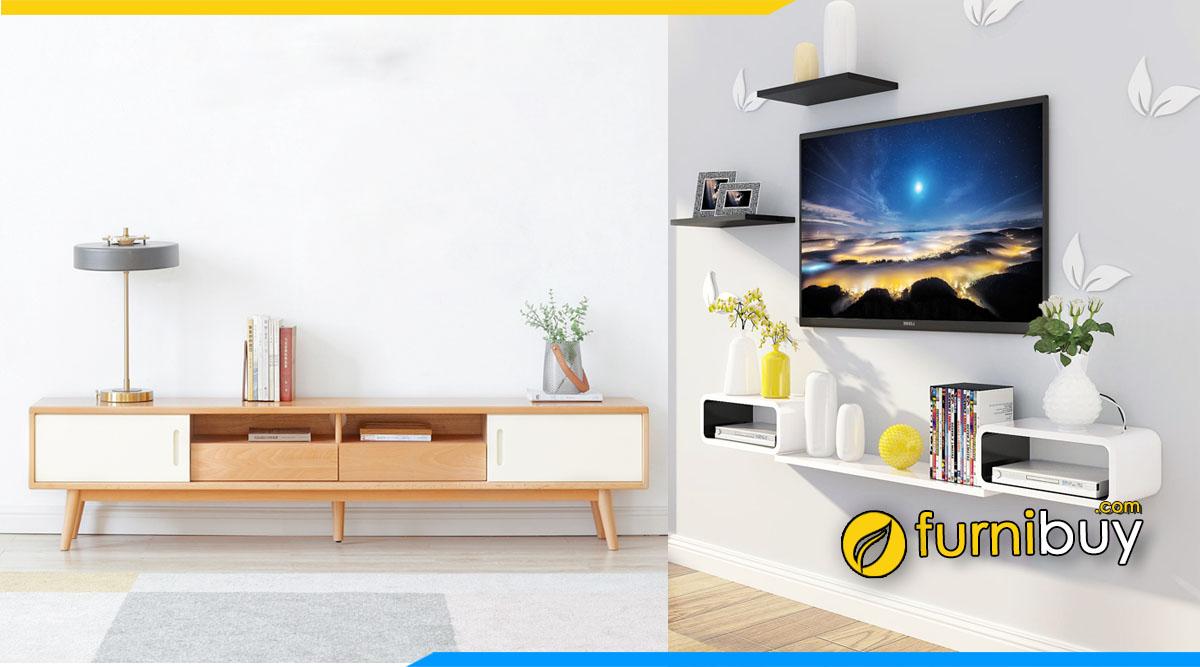 Nên chọn kệ tivi phòng ngủ đặt sàn hay treo tường
