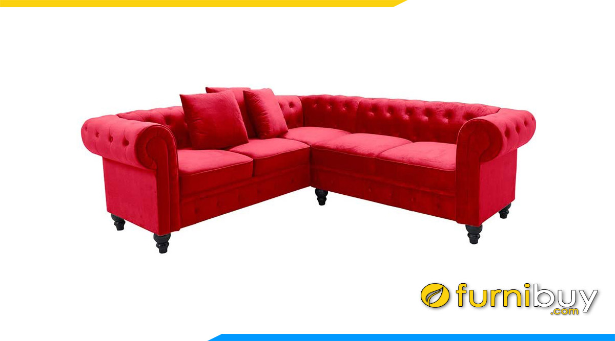 sofa chu v tan co dien mau do