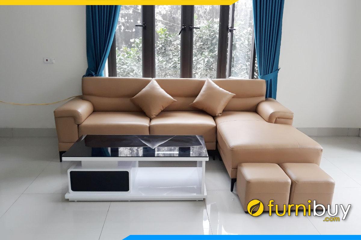 sofa phong khach dang goc chu l boc da cong nghiep mau nau cao cap