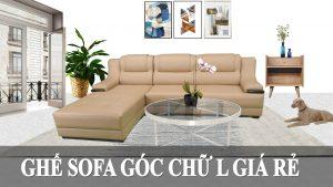 Bộ ghế sofa da chữ L phòng khách giá rẻ fb 081003
