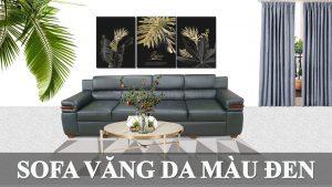 Ghế sofa màu đen kiểu dáng văng dài hiện đại cho phòng khách fb 141001