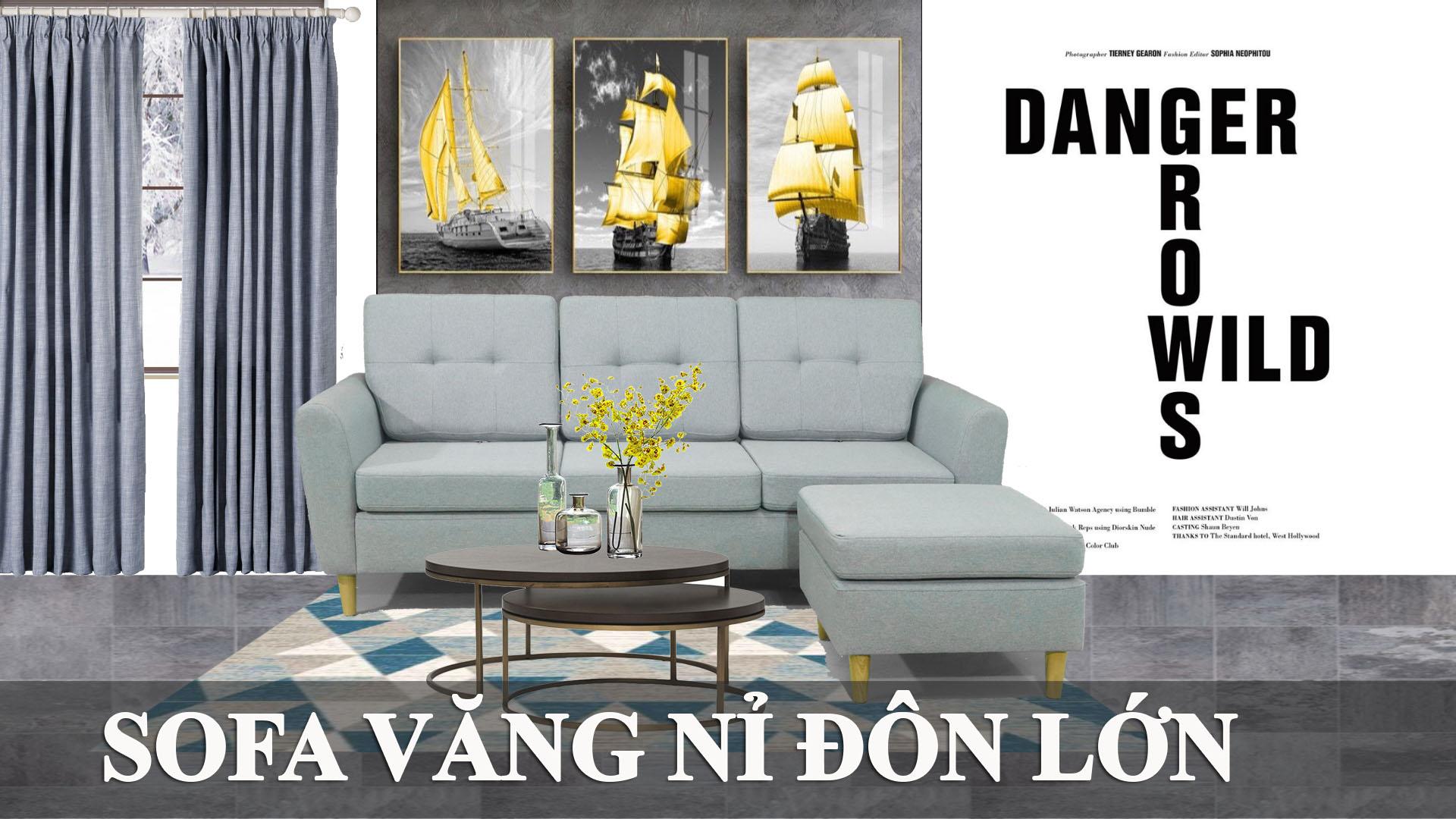 Mẫu ghế sofa văng nỉ có kết hợp đôn lớn cho phòng khách dưới 70m2 fb 231001