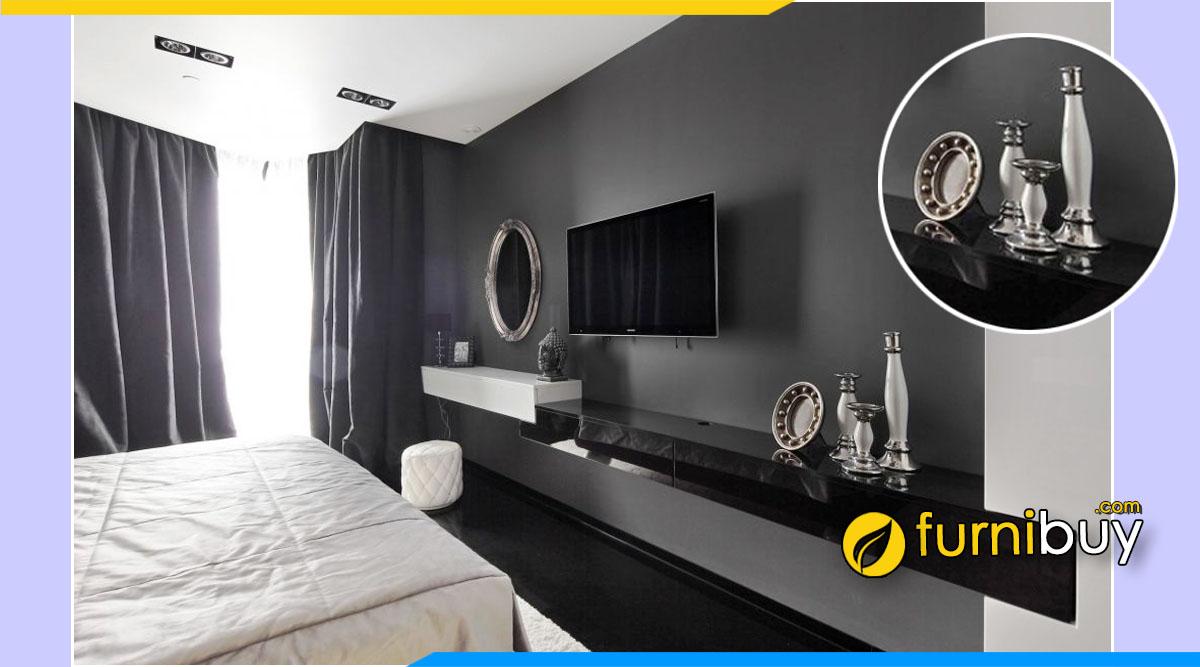 Trang trí kệ tivi phòng ngủ bằng các món đồ yêu thích