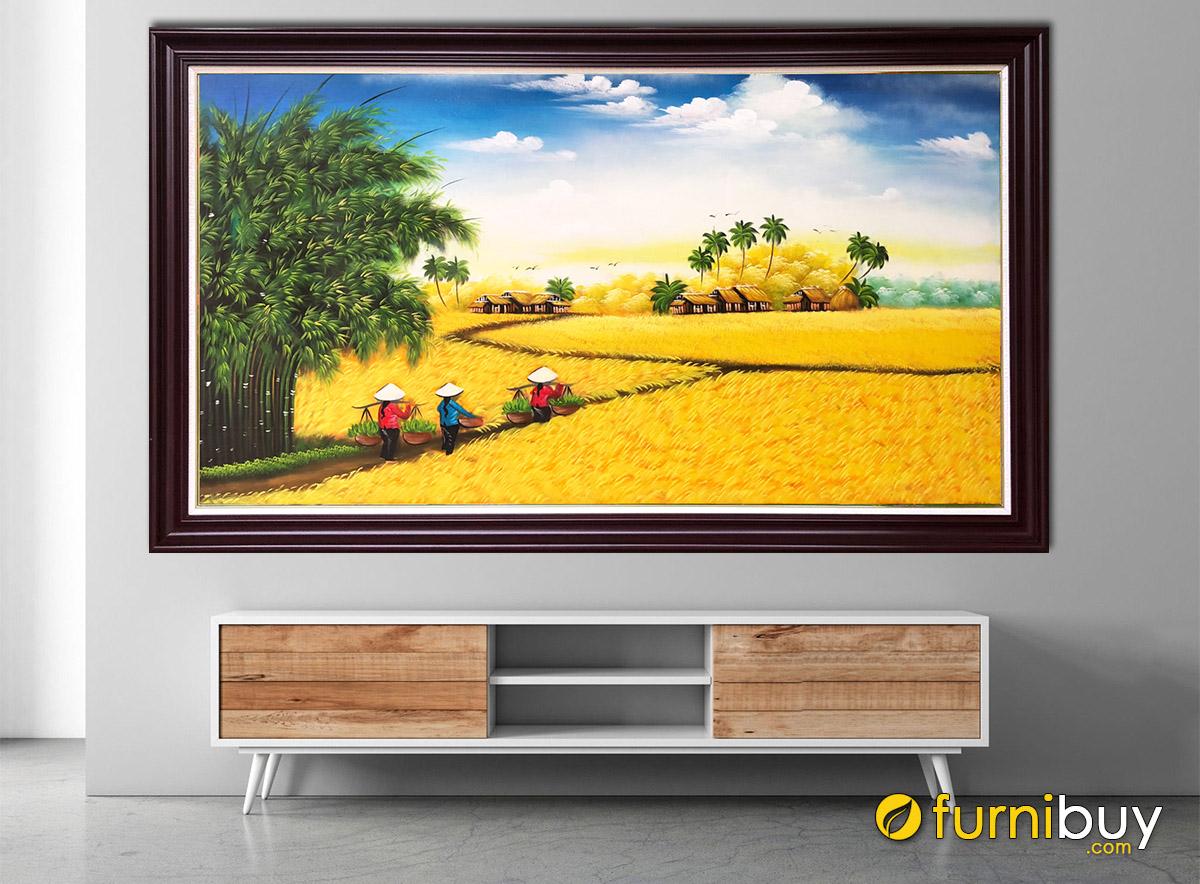 Hình ảnh Tranh cánh đồng lúa chín treo tường đẹp