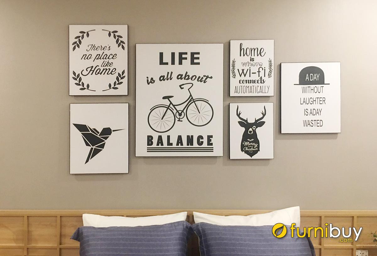 Hình ảnh Tranh canvas chữ đen trắng treo tường phòng ngủ đẹp hiện đại