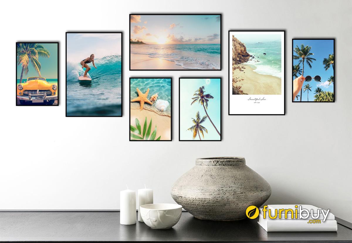 Hình ảnh Tranh chủ đề biển cả treo tường ghép nhiều tấm