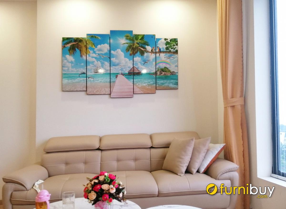Hình ảnh Tranh chủ đề cảnh biển treo phòng khách đẹp