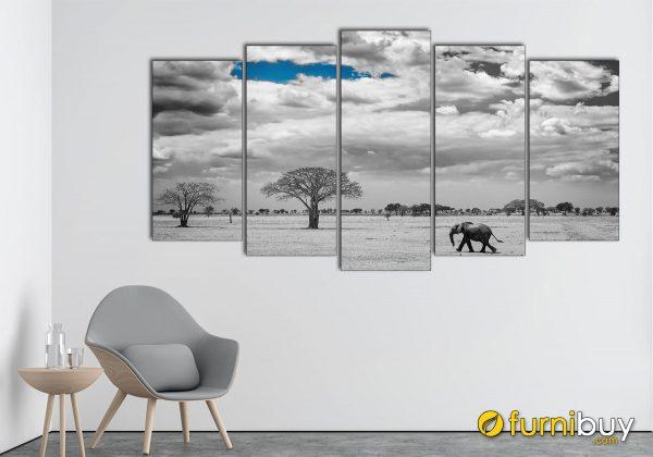 Hình ảnh Tranh đen trắng ghép bộ 5 tấm đẹp hiện đại