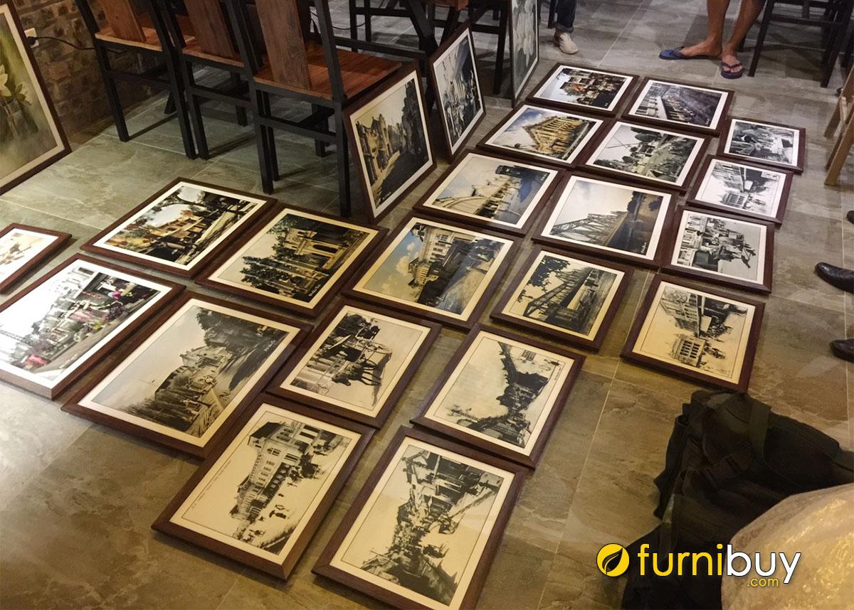 Hình ảnh Tranh đen trắng treo tường dự án quán cafe Hà Nội