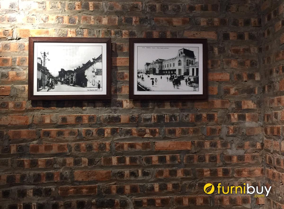 Hình ảnh Tranh đen trắng treo tường gạch đẹp tuyệt vời