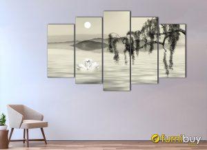 Hình ảnh Tranh đôi thiên nga đen trắng ghép bộ 5 tấm
