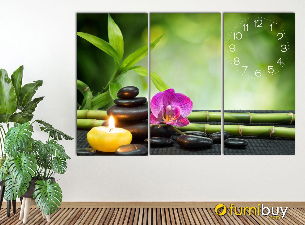 Hình ảnh Tranh hoa đá hoa nến tranh trí tường spa có đồng hồ