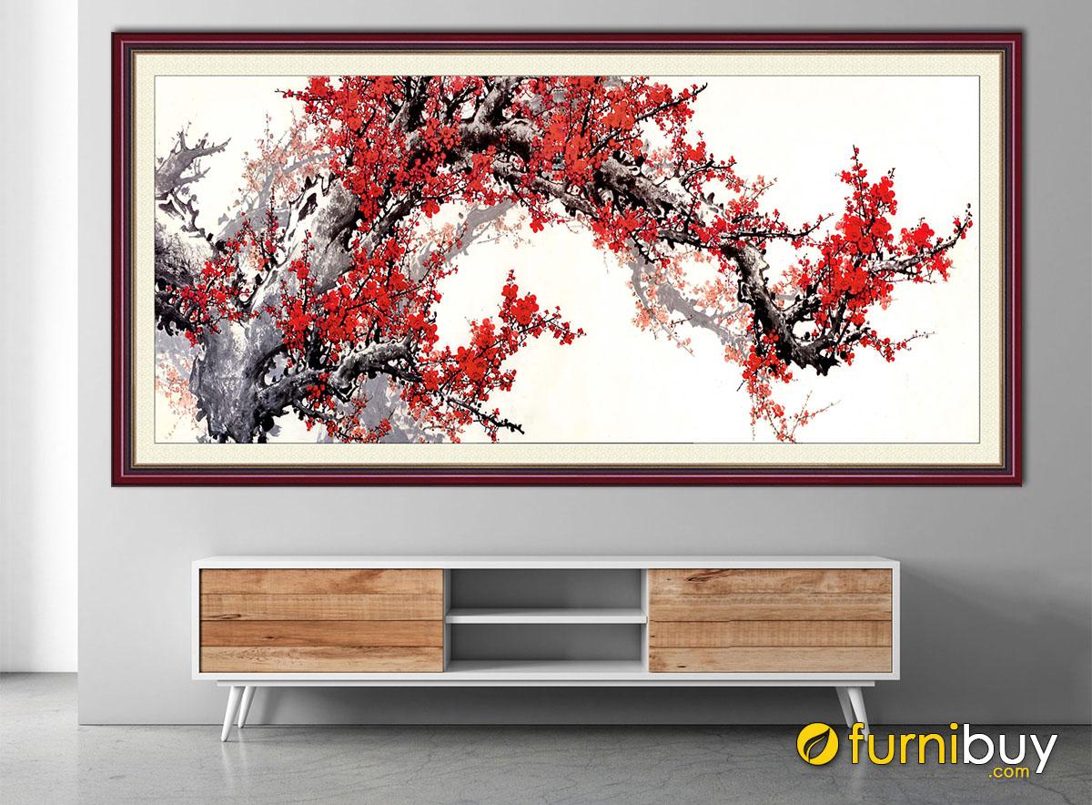 Hình ảnh Tranh hoa đào 1 tấm treo tường đẹp mừng Tết đến xuân về