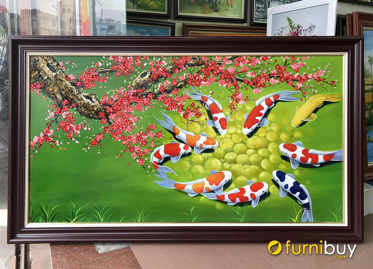 Hình ảnh Tranh hoa đào và cá chép treo tường đẹp ý nghĩa