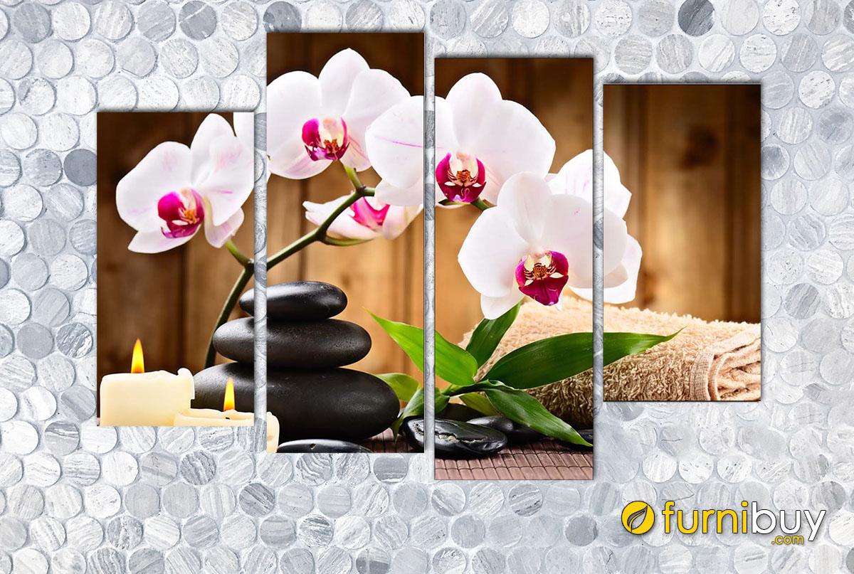 Hình ảnh Tranh hoa lan trang trí tường spa ghép bộ