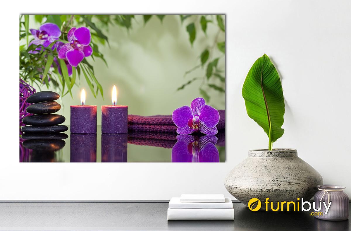Hình ảnh Tranh hoa nến tone màu tím trang trí spa đẹp