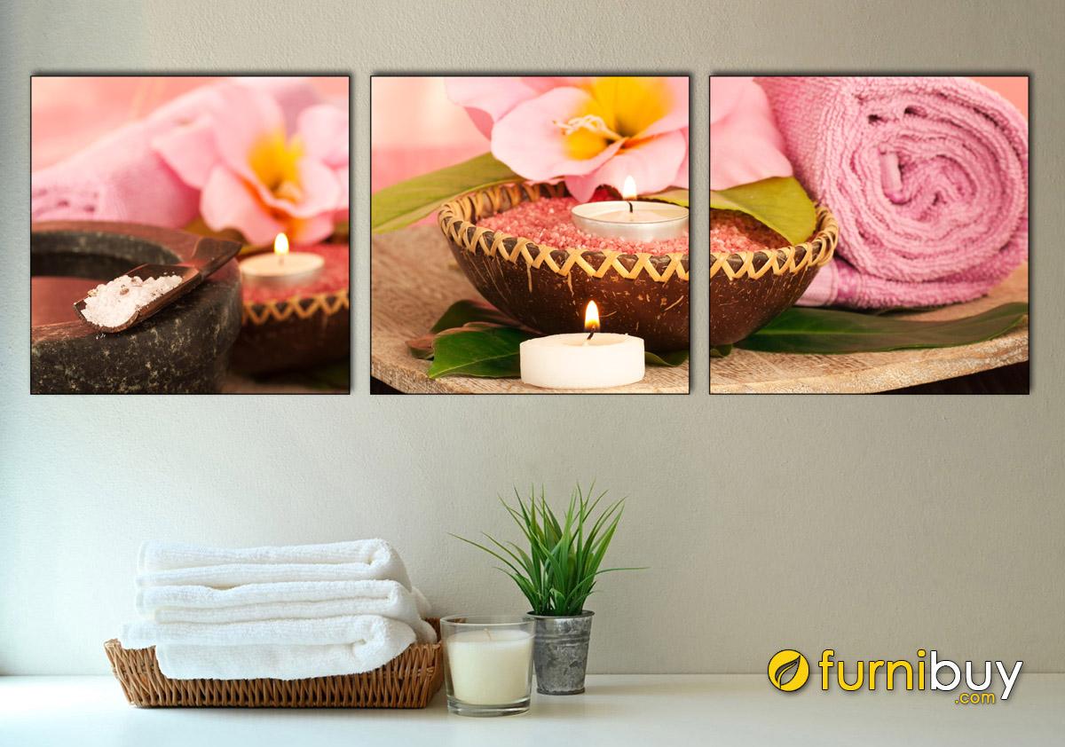 Hình ảnh Tranh hoa nến trang trí spa đẹp hiện đại