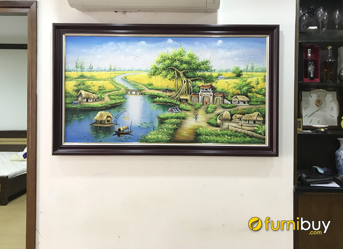 Hình ảnh Tranh làng quê Việt Nam treo tường vẽ sơn dầu đẹp