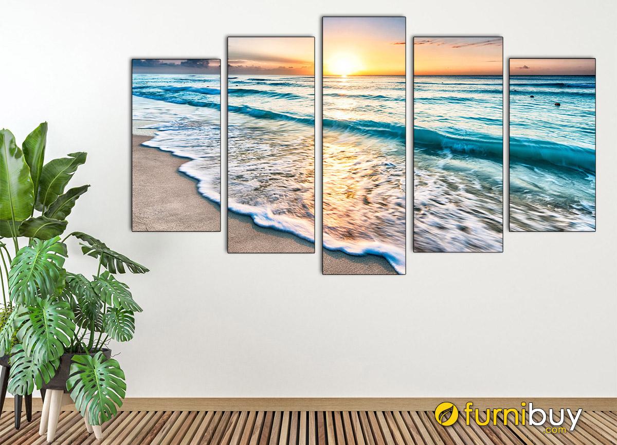 Hình ảnh Tranh phong cảnh bãi biển đẹp ghép bộ 5 tấm