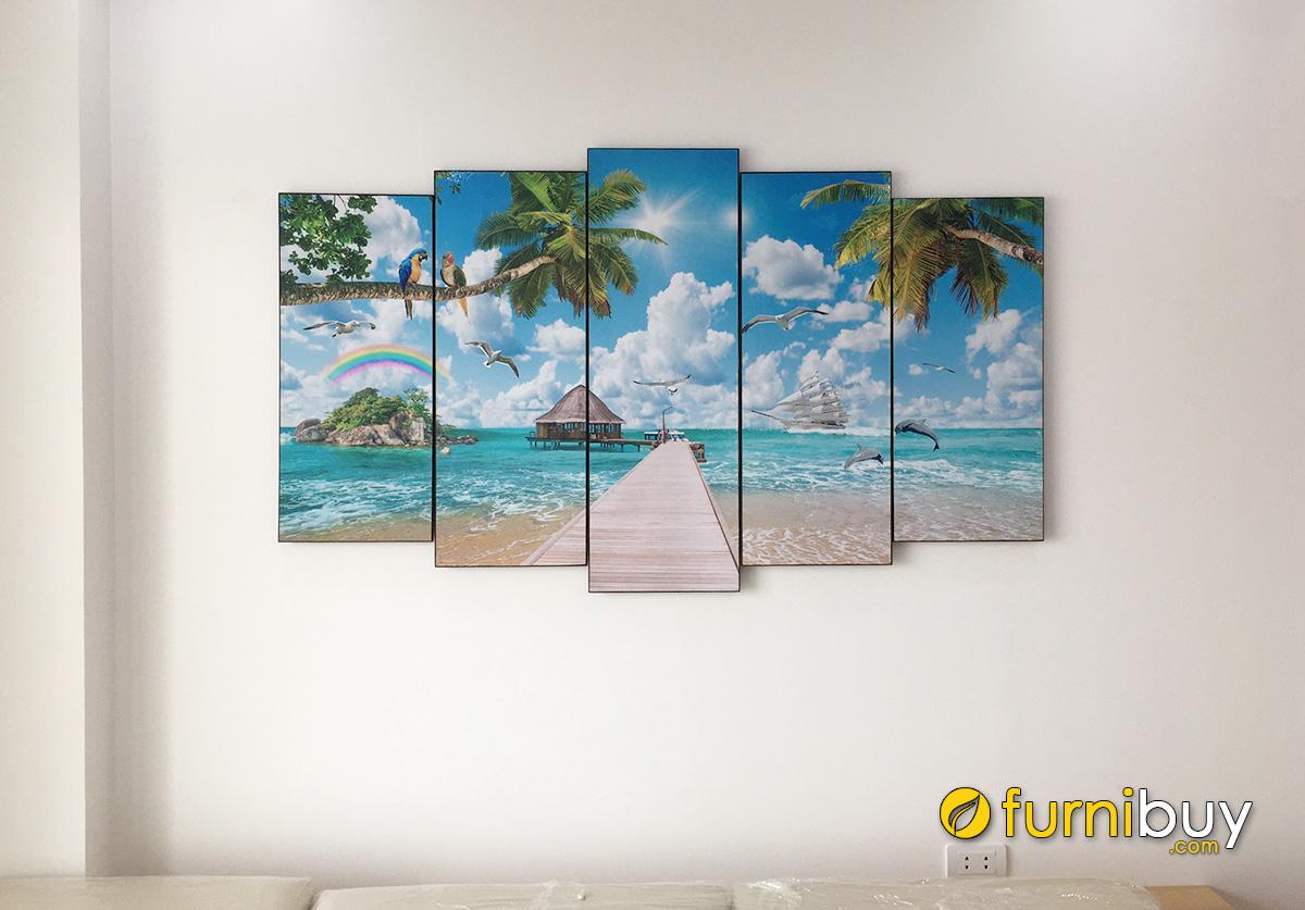 Hình ảnh Tranh phong cảnh bãi biển đẹp treo tường