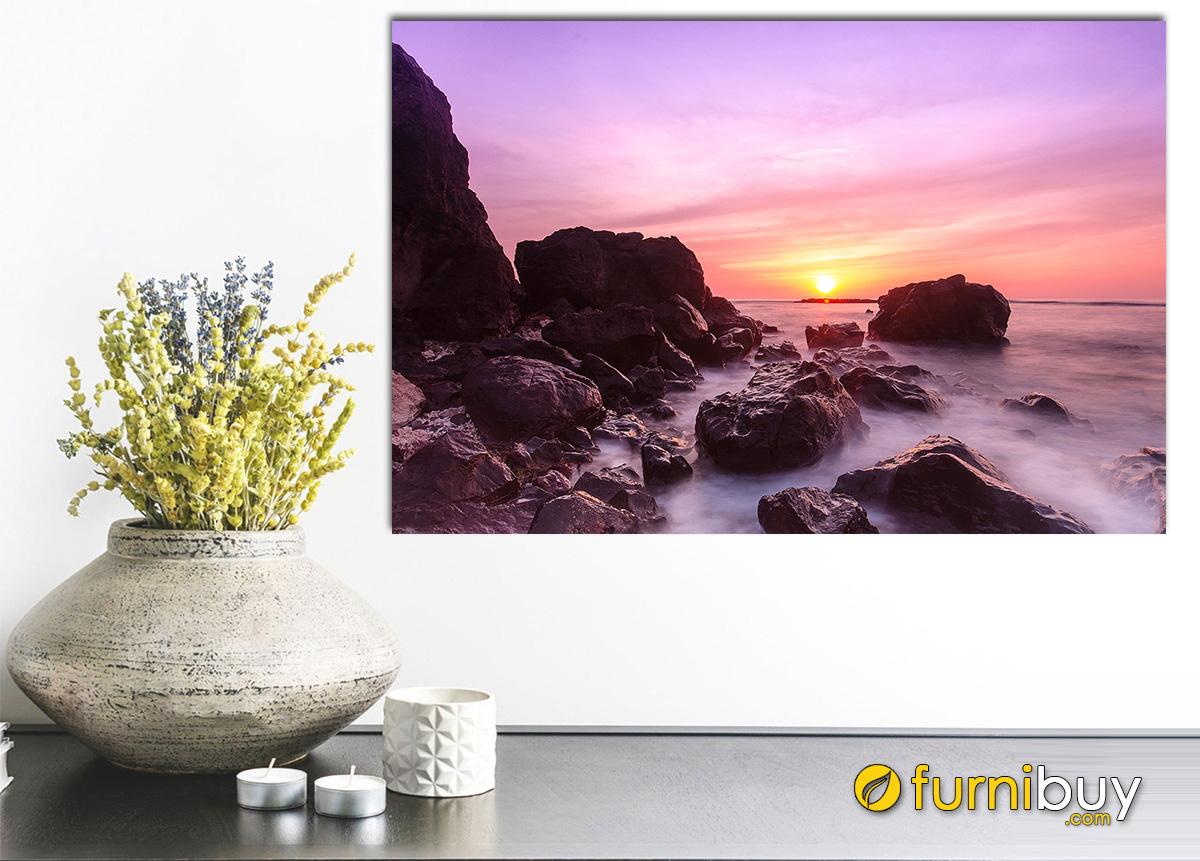 Hình ảnh Tranh phong cảnh biển hoàng hôn treo tường