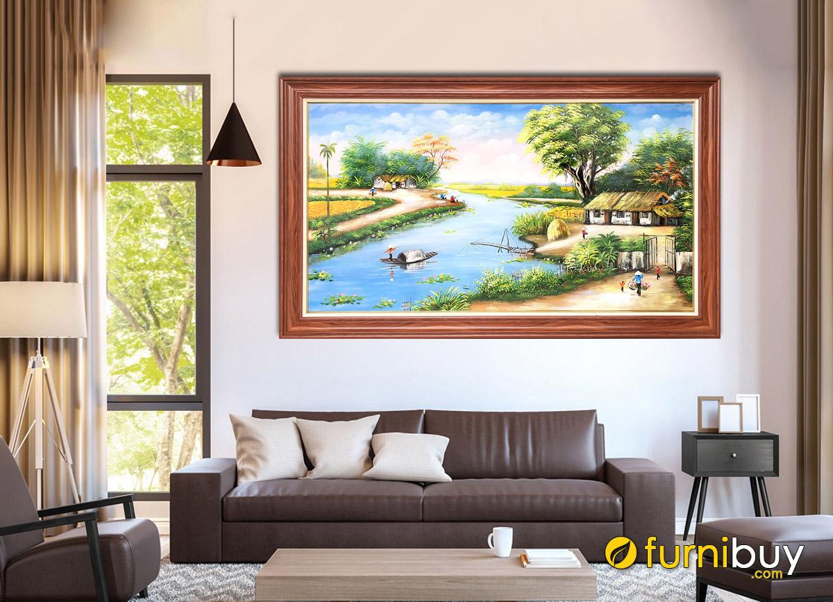 Hình ảnh Tranh phong cảnh làng quê đẹp treo tường