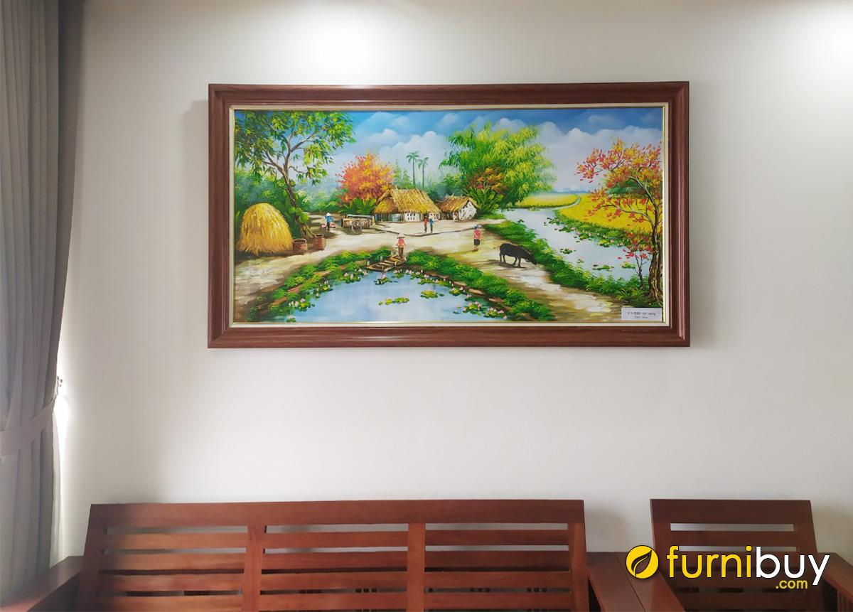 Hình ảnh Tranh phong cảnh làng quê treo tường vẽ sơn dầu