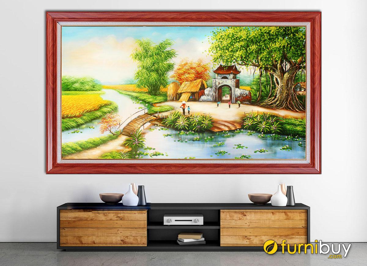 Hình ảnh Tranh phong cảnh làng quê vẽ sơn dầu đẹp tuyệt vời