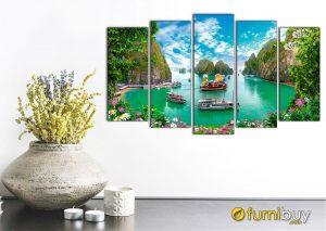 Hình ảnh Tranh phong cảnh Vịnh Hạ Long treo tường đẹp hiện đại