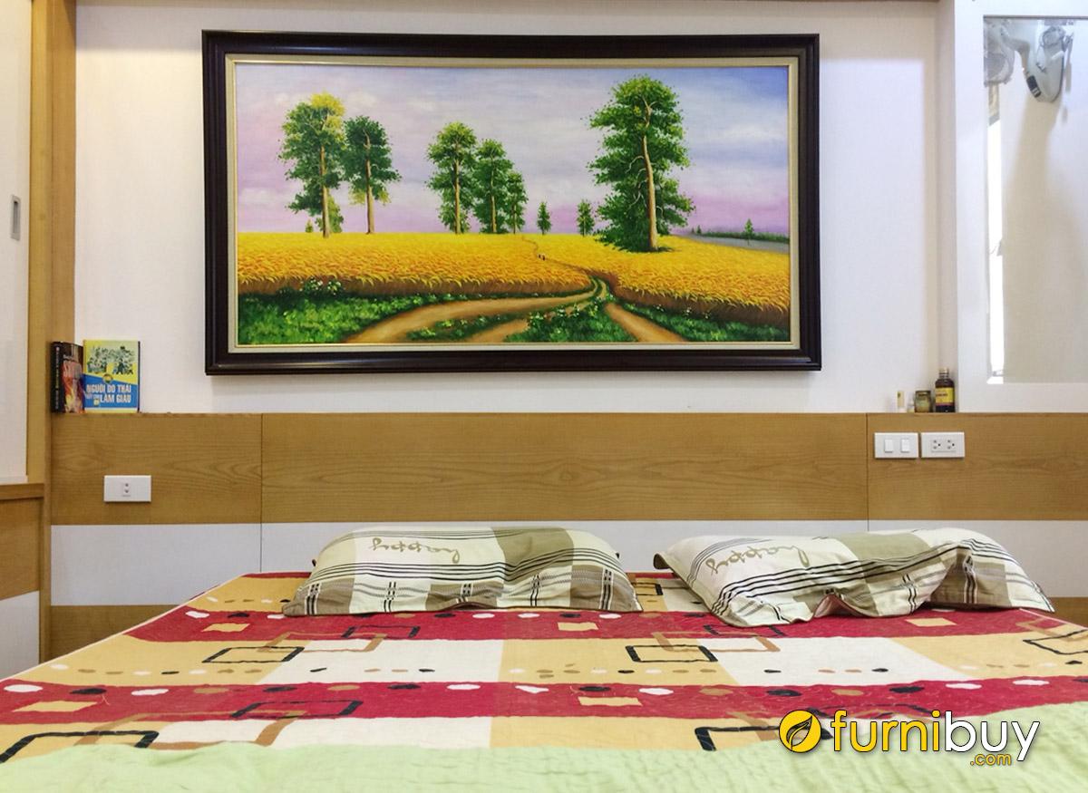 Hình ảnh Tranh sơn dầu cánh đồng lúa chín treo tường phòng ngủ