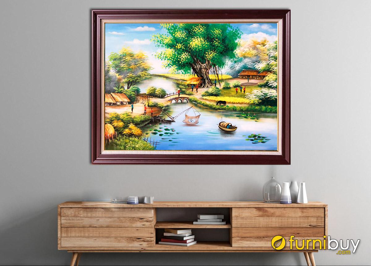 Hình ảnh Tranh sơn dầu làng quê treo tường đẹp
