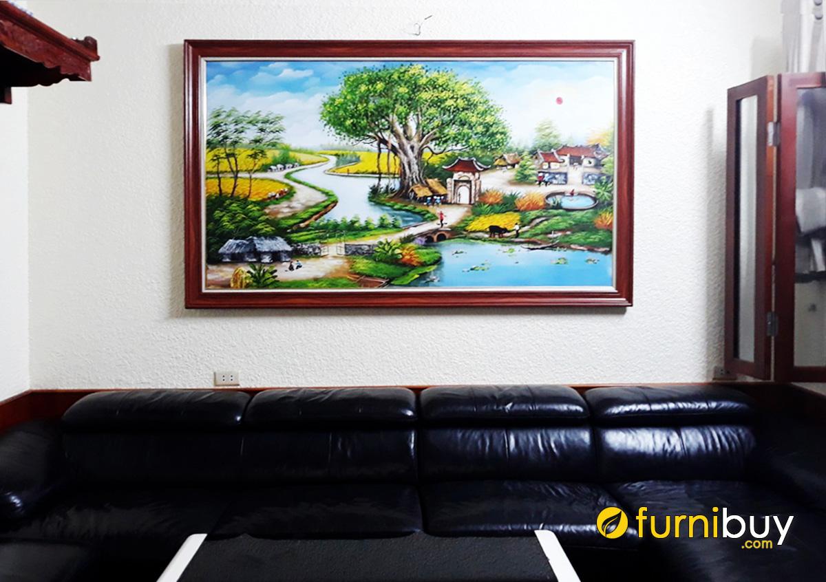 Hình ảnh Tranh sơn dầu làng quê Việt Nam treo tường đẹp