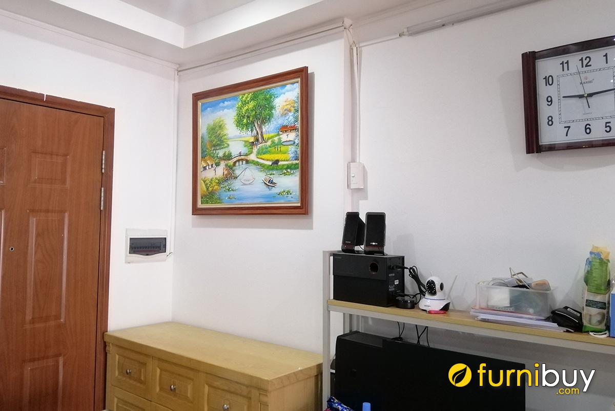 Hình ảnh Tranh sơn dầu phong cảnh làng quê làm quà mừng tân gia nhà mới