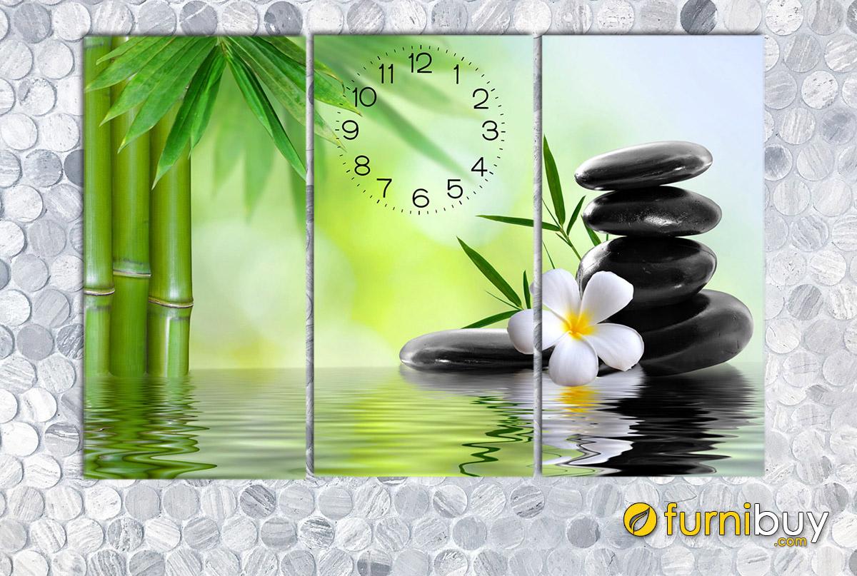 Hình ảnh Tranh spa hình ảnh hoa đá treo tường có đồng hồ