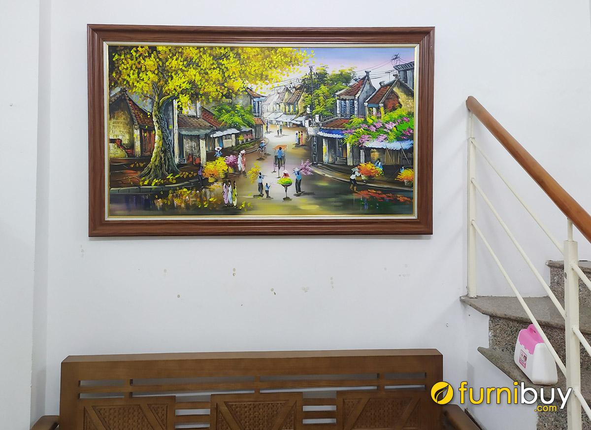 Hình ảnh Tranh treo phòng khách vẽ sơn dầu chủ đề Hà Nội