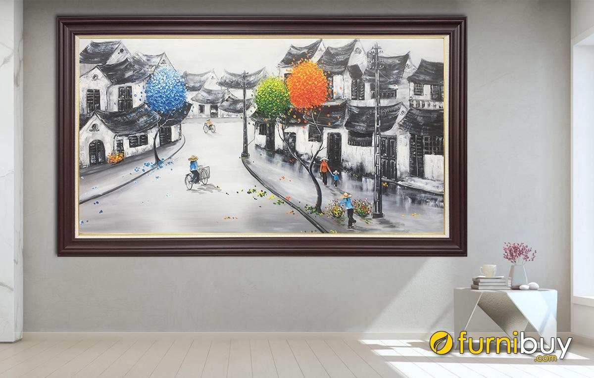 Hình ảnh Tranh treo tường chủ đề phố cổ Hà Nội vẽ sơn dầu