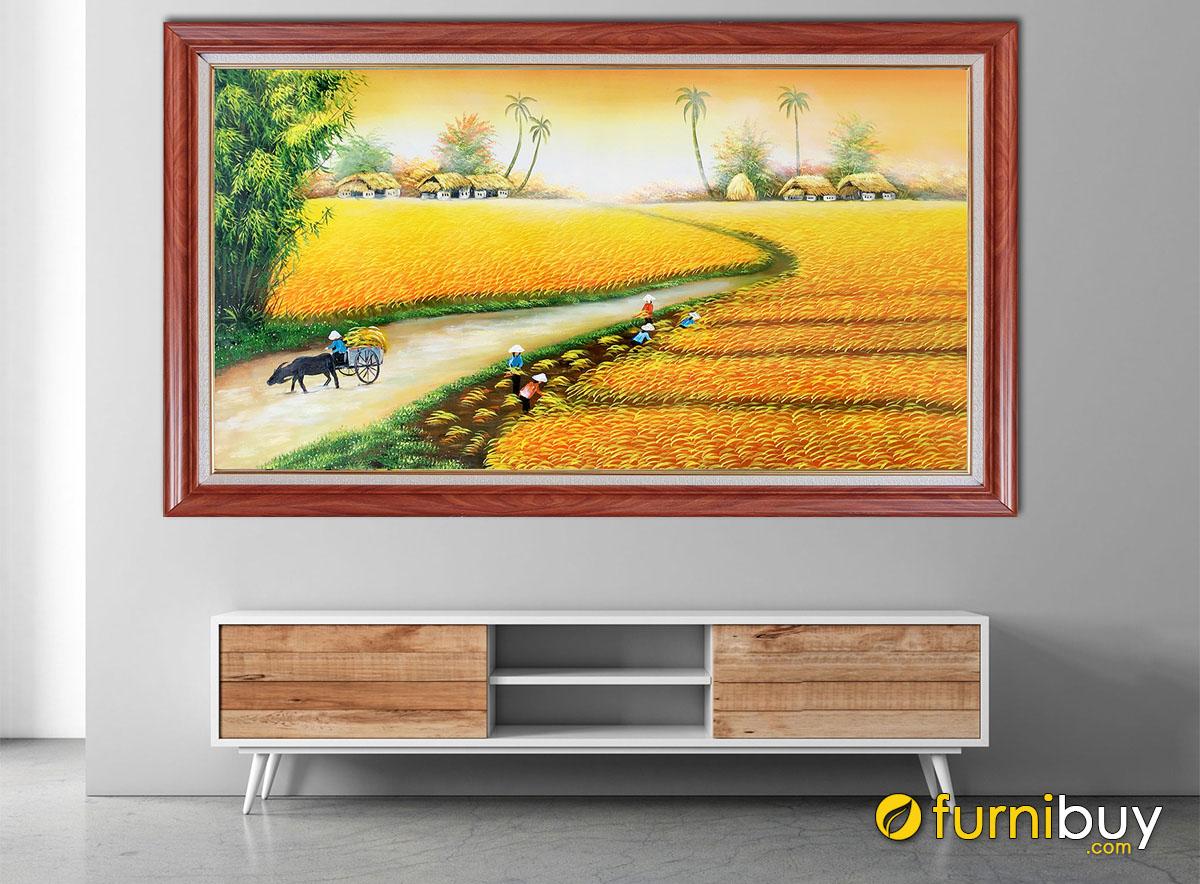 Hình ảnh Tranh treo tường đồng quê đẹp vụ mùa bội thu