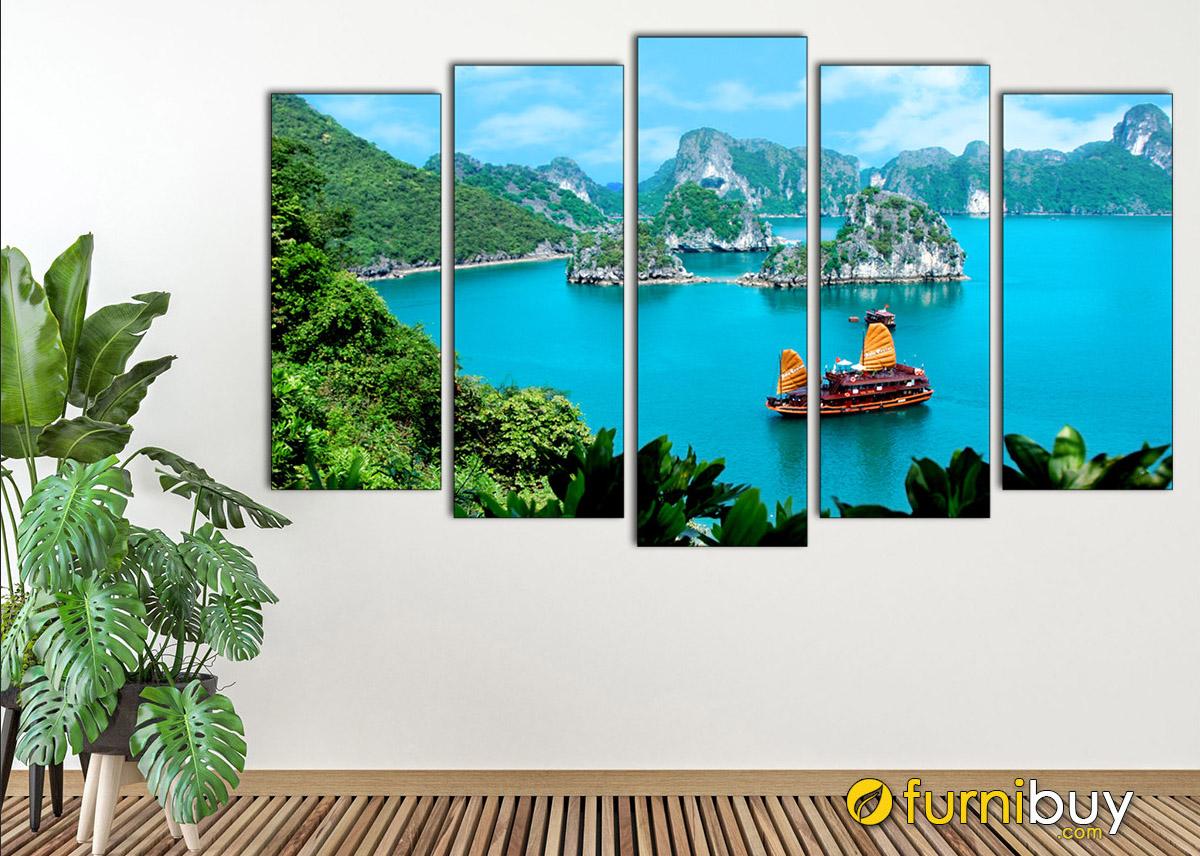 Hình ảnh Tranh treo tường ghép 5 tấm chủ đề Vịnh Hạ Long