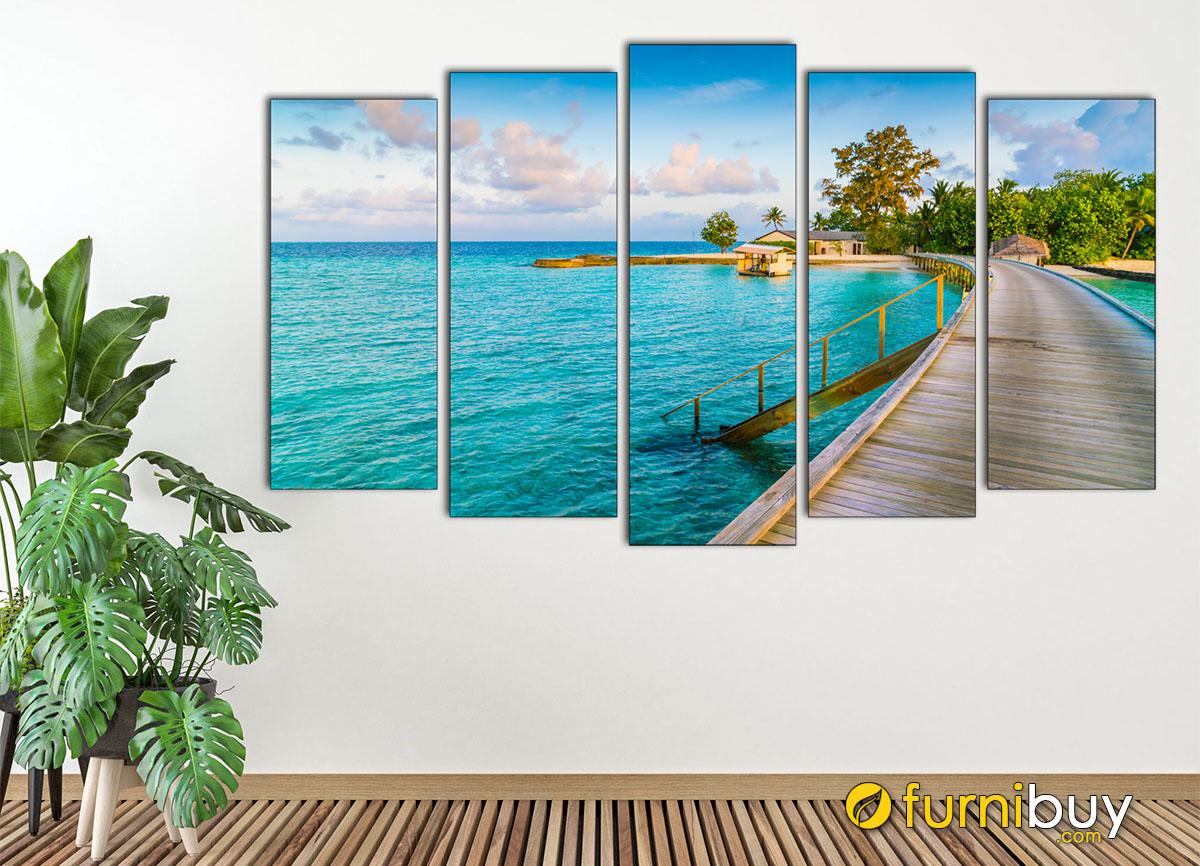 Hình ảnh Tranh treo tường phong cảnh biển ghép 5 tấm