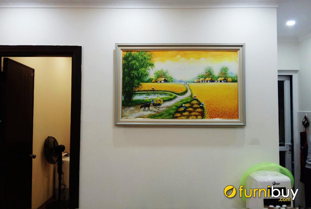Hình ảnh Tranh treo tường phong cảnh đồng quê lúa chín vàng