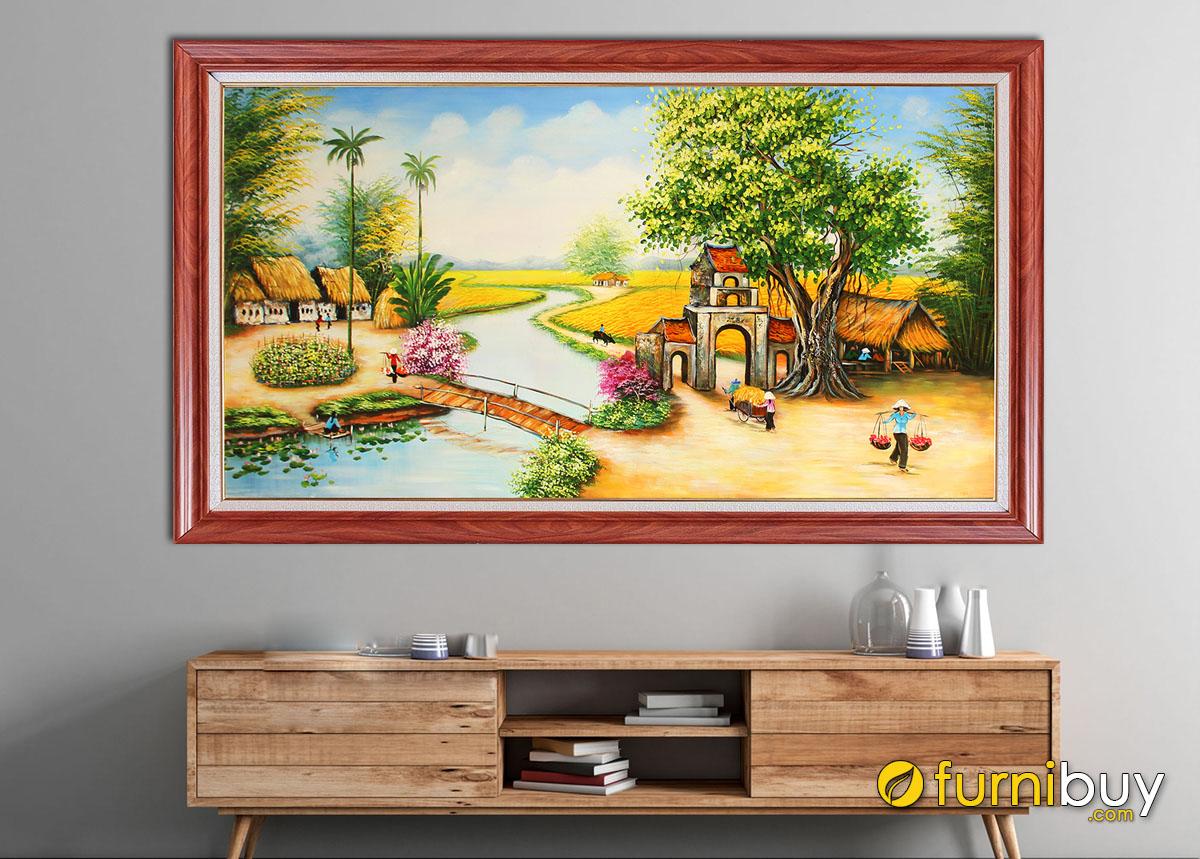 Hình ảnh Tranh treo tường phong cảnh làng quê yên bình