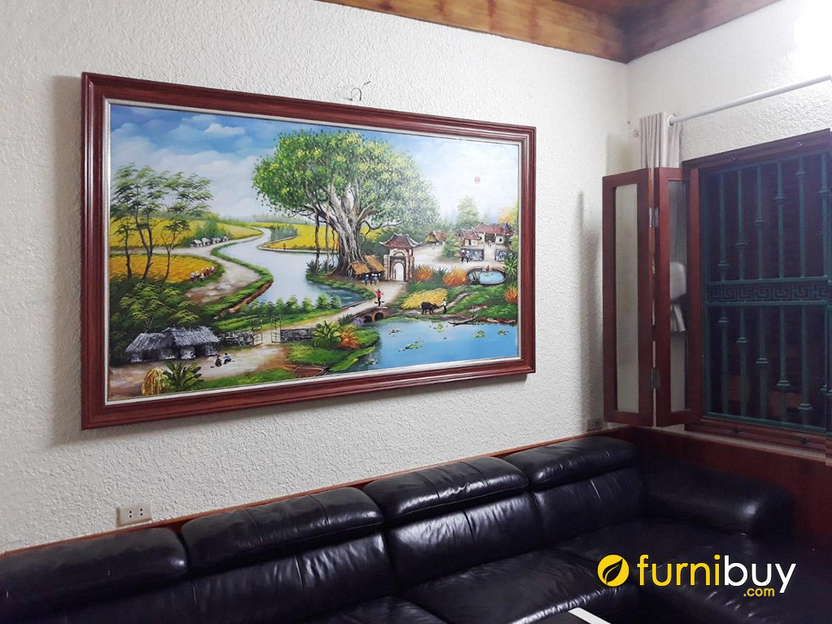 Hình ảnh Bức tranh treo tường phòng khách làng quê vẽ sơn dầu