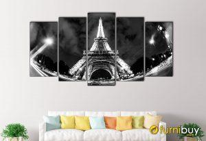 Hình ảnh Tranh treo tường tháp Eiffel đẹp ghép bộ 5 tấm