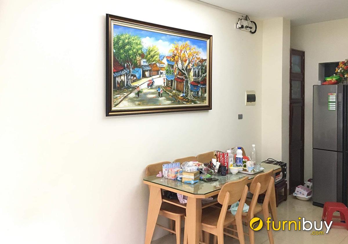 Hình ảnh Tranh vẽ Hà Nội xưa treo tường bàn ăn đẹp