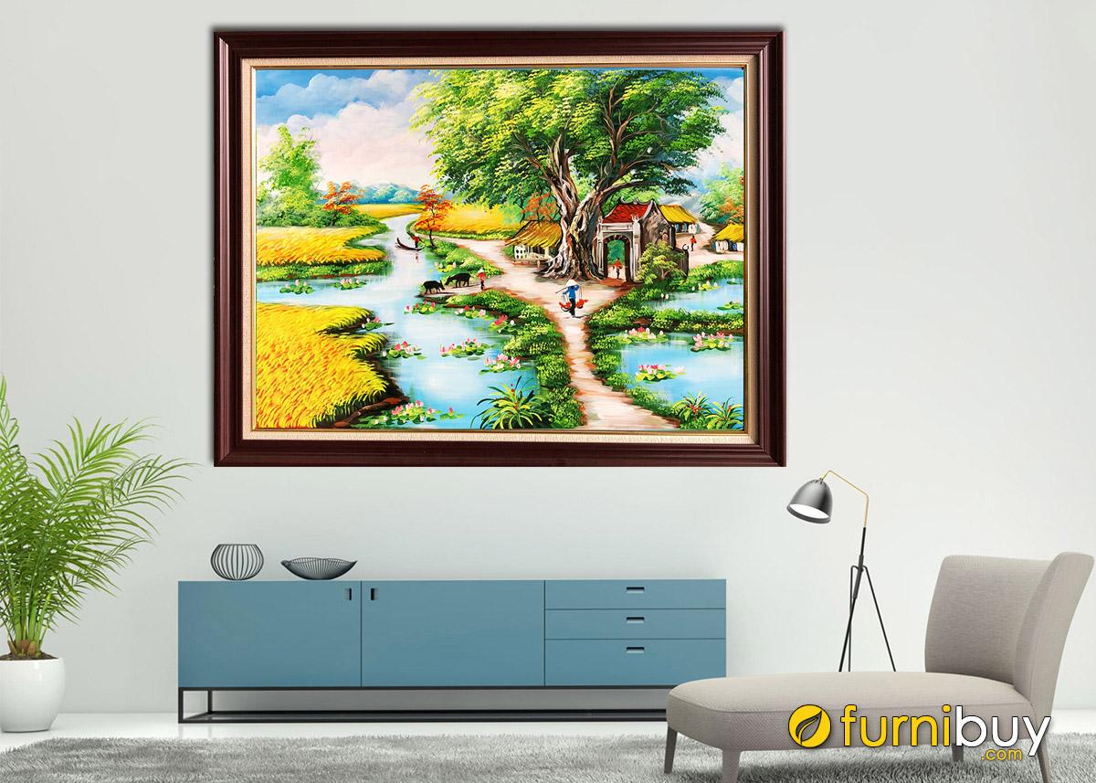 Hình ảnh Tranh vẽ làng quê Việt Nam treo tường